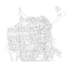 San Francisco streets from TIGER, replaced by OpenStreetMap walking tracks of the same (endpoint to endpoint) length.  A lot of long streets are missing because it's hard to find walks of the right length. There are a lot more short walks to choose from.