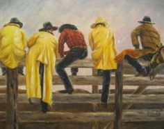 Cowboys on Fence Art Print cowboy paintings, rodeo, yellow rain slickers, Vickie Wade Art