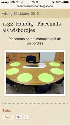 Placemets als wisbordjes op de instructietafel