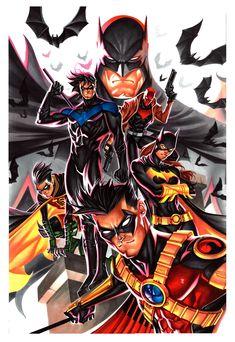Batman family watercolor Thony Silas Batman Robin Nightwing Batgirl Red Hood C - Batman Poster - Trending Batman Poster. Batman Poster, Batman E Superman, Batman Comic Art, Batman Robin, Spiderman, Robin Superhero, Funny Batman, Batman Painting, Comic Art