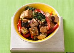 Stir-Fried baby bok Choy with Red Peppers, Tofu and Black Beans