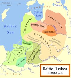 The Old Prussians or Baltic Prussians (German: Pruzzen or Prußen; Latin: Pruteni; Latvian: Prūši; Lithuanian: Prūsai; Polish: Prusowie; Kashubian: Prësowié) were  indigenous Baltic tribes that inhabited the lands of the southeastern Baltic Sea around the Vistula and Curonian Lagoons. They spoke a language now known as Old Prussian and followed pagan Prussian mythology.  Here, ca. 1200 AD. The Eastern Balts are shown in brown hues whereas the Western Balts are shown in green.