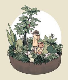 I love this cute botanical cartoon. Rich in cuteness, whimsy and nature Art And Illustration, Illustrations And Posters, Kunst Inspo, Art Inspo, Aesthetic Drawing, Aesthetic Art, Anime Kunst, Anime Art, Arte Copic