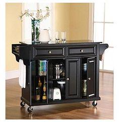 crosley furniture natural wood top kitchen cart island in black crosley furniture alexandria solid black granite top kitchen      rh   pinterest com