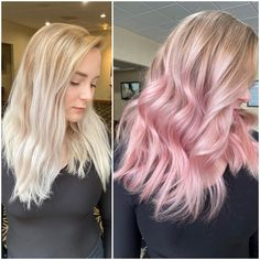 Easy Peasy to Pastel Pink - Color - Hybrid Elektronike Blonde To Pink Ombre, Pale Pink Hair, Hair Pale Skin, Pink Hair Dye, Blonde With Pink, Dye My Hair, Pastel Hair, Pastel Pink, Pink Bayalage