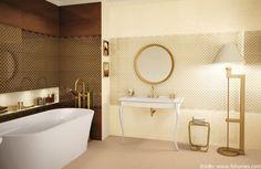 Klasyczna łazienka z pozłacanymi dodatkami