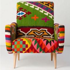 I absolutely love this chair made from a re-purposed Mexican sarape.