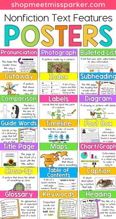 Nonfiction Text Features Posters. These nonfiction posters will help your students gain understanding of informational text and improve reading.