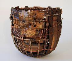"John Garrett. Body and Soul  12"" X 12"" X 12"". Steel, copper, brass, circuit board, fabric, wire, beads"