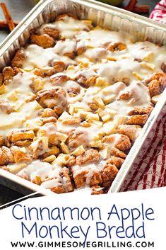 Easy and delicious Monkey Bread stuffed with tender, juicy apples and topped with icing. This Apple Monkey Bread on the grill is perfect for camping or mornings when you don't want to heat the house up! You can also make it in the oven! Cinnamon Monkey Bread, Apple Monkey Bread, Apple Bread, Cinnamon Rolls, Apple Cinnamon, Apple Cake, Apple Recipes, Fall Recipes, Bread Recipes