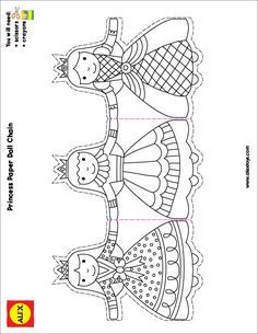 Paper Chain Princess 1 Of 1 Photo: This Photo was uploaded by ALEX_Toys. Find other Paper Chain Princess 1 Of 1 pictures and photos or upload your own. Paper Doll Chain, Paper Chains, Paper Dolls, Crafts To Do, Crafts For Kids, Princess Crafts, Alex Toys, Craft Activities For Kids, Colouring Pages