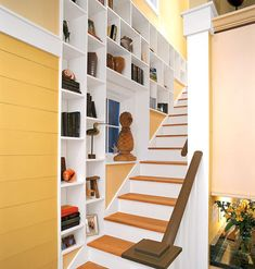 Clever Storage by the Stairs - Southern Living Stair Storage, Wall Storage, Storage Spaces, Garage Storage, Vestibule, Bookshelves Built In, Built Ins, Bookcases, Bookshelf Ideas