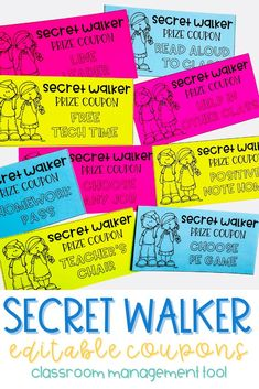 These prize coupons are a positive incentive for students who follow behavior expectations while walking in line. Using the Secret Walker as a classroom management tool throughout the entire school year is sure to help keep your students on track. Students earn a secret walker coupon at the end of the day if they followed classroom expectations. These student incentives are super motivating for students. This is a classroom management system. Try out this mystery walker system today!