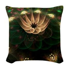 Alien Flower Woven Throw Pillow