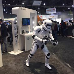 3D Printed Stormtrooper by #3dsystems here in #ces2016  This is how they manufacture the future. #ces2016 #3dsystems #omnifab #3dprinting #3dprinted #starwars #OmniFab by omnifabinc