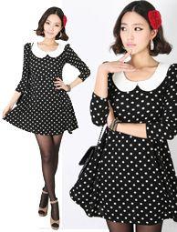 peterpan collar polka dot a-line dress  CODE: MGK423  Price: SG $49.80(approx US $40.16)