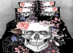 Super Cool Skull Design Black 4-Piece Duvet Cover Sets - beddinginn.com