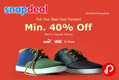 Snapdeal is offering Min. 40% off on Men's #casual #shoes with #big #brands Puma, Vans & many more.  http://www.paisebachaoindia.com/mens-casual-shoes-puma-vans-min-40-off-snapdeal/