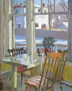 Snow Outside the Kitchen Window by Carole Rabe..♔..