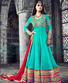 Buy Sightly Turquoise Anarkali Salwar Kameez online at  https://www.a1designerwear.com/sightly-turquoise-anarkali-salwar-kameez  Price: $77.75 USD