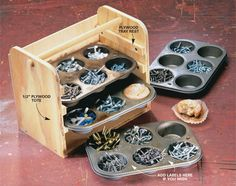 Muffin tins are perfect for small parts   Put those neglected muffin tins to work holding small fasteners, electrical parts and more. Screw together a tote from three pieces of 1/2-in.-thick plywood cut to fit the width and height of your trays. Screw plywood strips on the inside to act as drawer runners for the tins and glue or screw on a thin plywood back. The tote shown here holds four tins, but you can build it higher for even more storage capacity. Cut the plywood sides long enough so…
