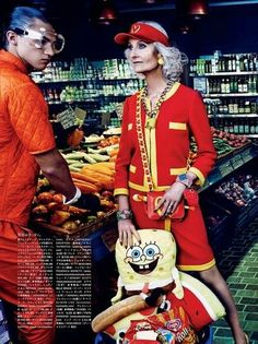 """My Market Day"" Lindsey Wixson and Hanne Gaby Odiele by Giampaolo Sgura for Vogue Japan October 2014"