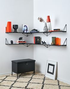 Pythagoras shelves are part of the Pythagoras shelving system. You can find the Pythagoras Brackets here. Mix and match colours to create your own unique wall. Let your creativity go wild or build a sober wall - the Pythagoras collection is made to be unique! The shelf has pre-drilled holes adapted for the Pythagoras Brackets, to anchor the shelf to them. You can of course add shelves and brackets to create a larger shelving system. Do not forget to add the Pythagoras Brackets. Right Triangle, Large Shelves, Mix N Match, Sober, Anchor, Shelving, Larger, Create Your Own, Shelf