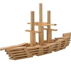 Kapla boot Wooden Building Blocks, Wooden Blocks, Diy For Kids, Crafts For Kids, Wooden Buildings, Natural Toys, Kids Wood, Wooden Animals, Wood Toys