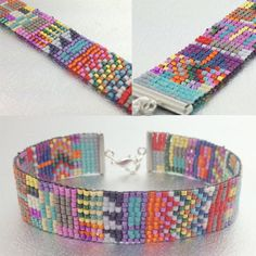 Great idea for leftover beads.  Make a colorful piece by using a small amount of each color to make a small pattern of 5 or 6 lines.