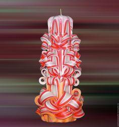 """Купить Резная свеча """"Грань"""" - коралловый, paraffin candles, decorative candles, unusual gift"""