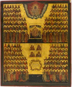 Russian Icon - Assembly of All Saints with a icon of Sophia, Wisdom of God and four Miraculous icons of Mother of God