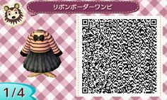Animal Crossing New Leaf Pink & Black Striped Dress QR Code