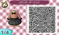 Animal Crossing New Leaf Pink & Black Striped Dress QR Code