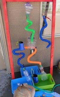 """DIY Water Wall from """"Organized Outdoor Play Areas"""" Water Activities, Outdoor Activities, Activities For Kids, Outdoor Play Areas, Outdoor Fun, Outdoor Games, Water Party, Water Walls, Outdoor Classroom"""