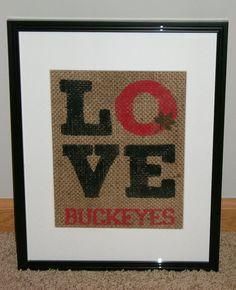 Love Buckeyes Burlap OSU Ohio State Buckeyes by MadeByCRose, $18.00