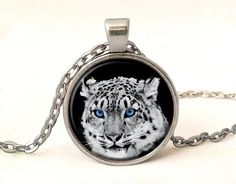 White Tiger Photo Pendant With Chain,Wild Animal Necklace Gift