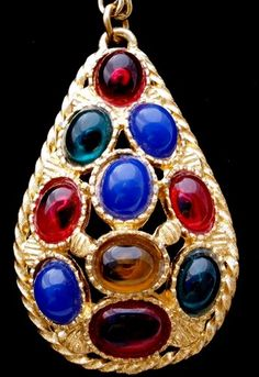 Gorgeous Multi Colored Cabochon Rhinestone Gold Tone Estate Vintage Necklace | eBay
