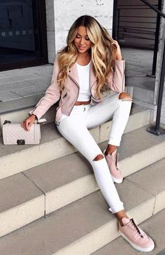Pastel street style crop jacket + white ripped jeans