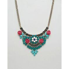 Oasis Flower Statement Necklace (65.830 COP) ❤ liked on Polyvore featuring jewelry, necklaces, multi, chain statement necklace, flower jewellery, beaded necklaces, bib statement necklace and statement necklaces