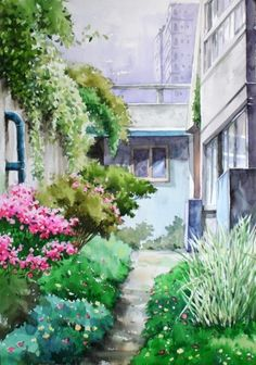 Watercolor Trees, Watercolor Landscape, Landscape Art, Watercolor Paintings, Watercolour, House Drawing, Art Drawings, Illustration Art, Artwork