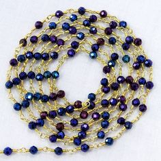 5 Feet BLACK SPINEL Blue Mystic Faceted Beads 24k Gold Plated Link Chain. by Sunrisegemstone on Etsy