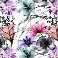 X-Ray Flowers by Halit ÖZDEMİR - X-RAY Flowers Seamless