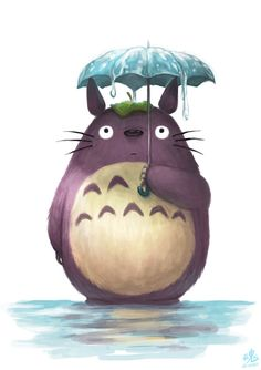 Has it stopped raining yet? by Ry-Spirit, my neighbour totoro, studio ghibli, anime movie, digital painting, inspirational art