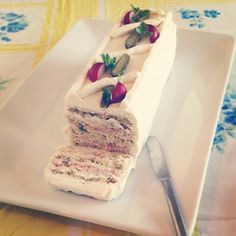 the Seven-Layer Sandwich Cake from Bon Appétit 1969 - Bon Appétit I had this at an afternoon garden wedding.  Delicious.