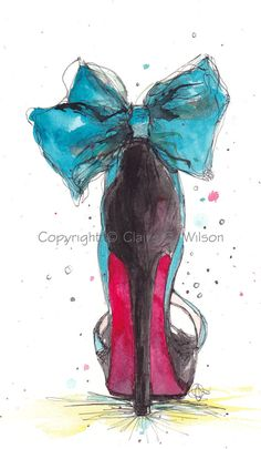 Fashion Illustration - The Teal Bow Louboutin Art Print 8x10 by claireswilson on Etsy, $25.00