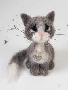 Lusho By agaFil - Needle felted little cat Lusho. Heiht:9,5 cm. Material: 100 % wool. 100 % handmade. Please note: a needle felted sculpture is not a toy This great bear is ready to ship :)