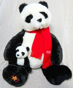 """Large 22"""" Gund Limited Edition 2001 Wish Bear Panda and Baby with Smithsonian National Zoological Park Red Scarf - Stuffed Animal Plush GUND http://www.amazon.com/dp/B00T6HLWDM/ref=cm_sw_r_pi_dp_qI1Fvb1X62AFN"""