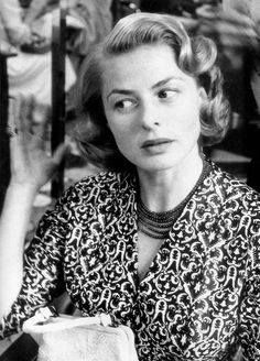 Ingrid Bergman getting her hair done at the Carlton Hotel during the Cannes Film  Festival.