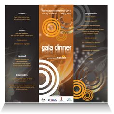 SASRIA:   Menu and programme design and layout for the gala dinner of the insurance conference 2011, sponsored by the South African Special Risks Insurance Association.