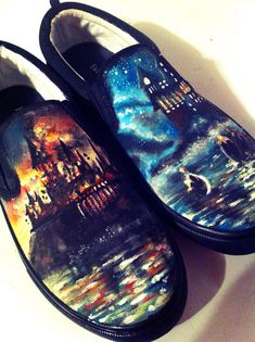 Harry Potter Hand Painted Custom Shoes by KristaRaeArt on Etsy